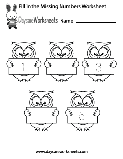 Preschool Fill in the Missing Numbers Worksheet