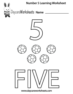 Preschool Number Five Learning Worksheet
