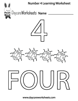 Preschool Number Four Learning Worksheet