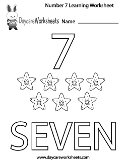 Preschool Number Seven Learning Worksheet