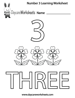 Preschool Number Three Learning Worksheet