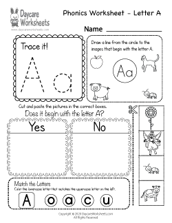 Preschool Beginning Sounds Letter A Phonics Worksheet
