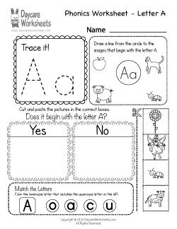 Preschool Beginning Sounds Letter A Phonics Worksheet