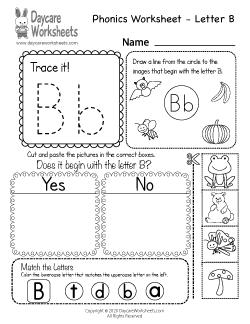 Preschool Beginning Sounds Letter B Phonics Worksheet