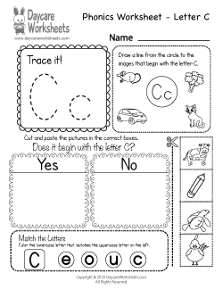 Preschool Beginning Sounds Letter C Phonics Worksheet
