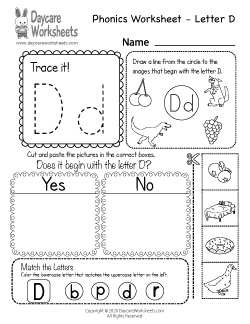 Preschool Beginning Sounds Letter D Phonics Worksheet