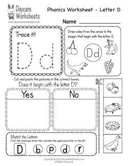 Preschool Beginning Sounds Letter D Phonics Worksheet