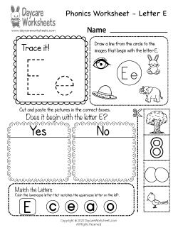 Preschool Beginning Sounds Letter E Phonics Worksheet