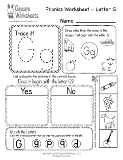 Preschool Beginning Sounds Letter G Phonics Worksheet