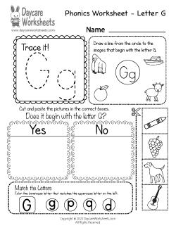 Preschool Beginning Sounds Letter G Phonics Worksheet