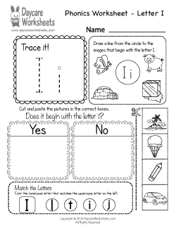 Preschool Beginning Sounds Letter I Phonics Worksheet