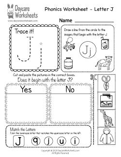 Preschool Beginning Sounds Letter J Phonics Worksheet