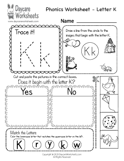 Preschool Beginning Sounds Letter K Phonics Worksheet