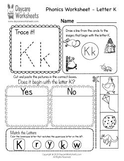 Preschool Beginning Sounds Letter K Phonics Worksheet