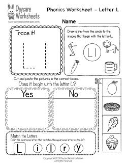 Preschool Beginning Sounds Letter L Phonics Worksheet