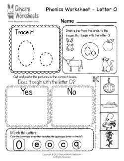 Preschool Beginning Sounds Letter O Phonics Worksheet