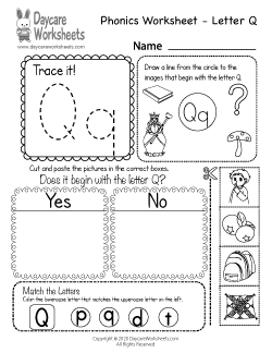 Preschool Beginning Sounds Letter Q Phonics Worksheet