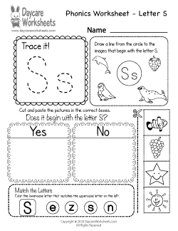 Preschool Beginning Sounds Letter S Phonics Worksheet