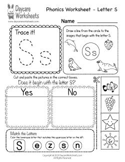 Preschool Beginning Sounds Letter S Phonics Worksheet