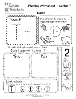 Preschool Beginning Sounds Letter T Phonics Worksheet