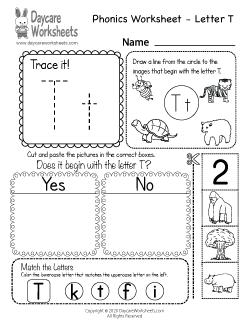 Preschool Beginning Sounds Letter T Phonics Worksheet