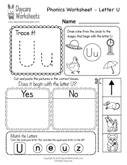 Preschool Beginning Sounds Letter U Phonics Worksheet