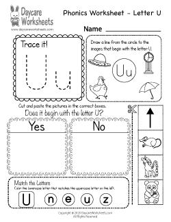 Preschool Beginning Sounds Letter U Phonics Worksheet