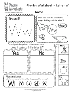 Preschool Beginning Sounds Letter W Phonics Worksheet