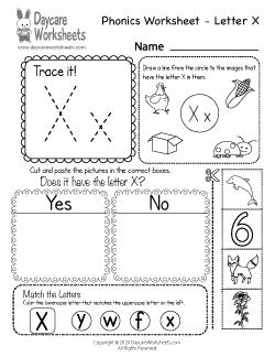 Preschool Letter X Sounds Phonics Worksheet