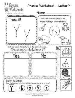 Preschool Beginning Sounds Letter Y Phonics Worksheet