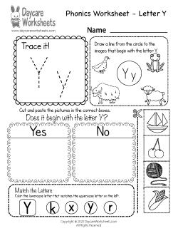 Preschool Beginning Sounds Letter Y Phonics Worksheet