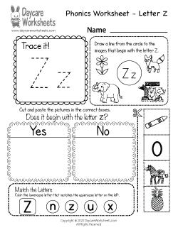 Preschool Beginning Sounds Letter Z Phonics Worksheet