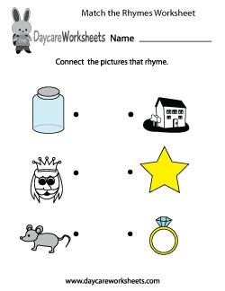 Preschool Match the Rhymes Worksheet