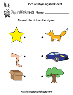 Preschool Picture Rhyming Worksheet