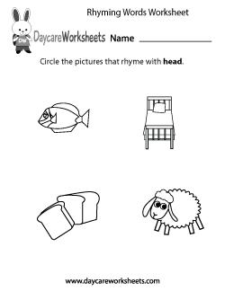 Preschool Rhyming Practice Worksheet