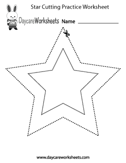 Preschool Star Cutting Practice Worksheet