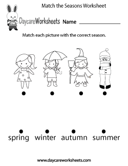 free preschool match the seasons worksheet kindergarten prin ...
