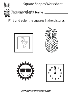 Preschool Square Shapes Worksheet