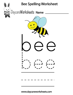 Preschool Bee Spelling Worksheet