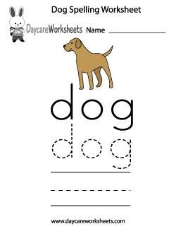 Preschool Dog Spelling Worksheet