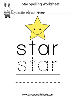 Preschool Star Spelling Worksheet