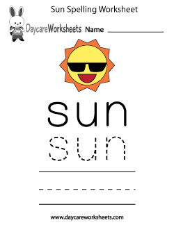 Preschool Sun Spelling Worksheet