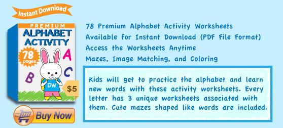 Premium Alphabet Activity Worksheets Collection Details
