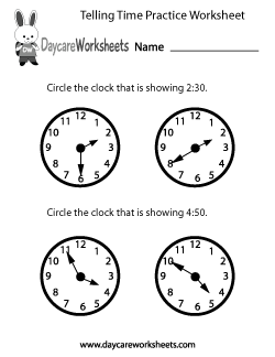 Preschool Telling Time Practice Worksheet