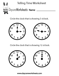 Preschool Telling Time Worksheet