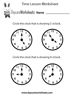 Preschool Time Lesson Worksheet
