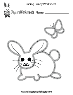 Preschool Tracing Bunny Worksheet