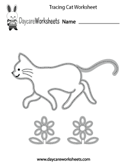 Preschool Tracing Cat Worksheet