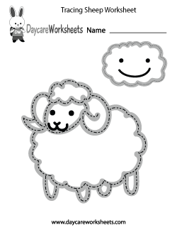 Preschool Tracing Sheep Worksheet