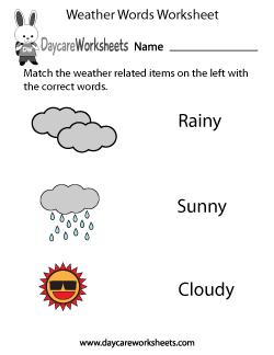 preschool weather worksheets preschool weather words worksheet